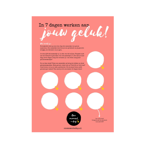 One moment a day   Gratis poster geluk